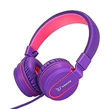 Yomuse F95 On Ear Headphones Foldable Adjustable Headband with Microphone, 3.5mm Plug Jack for Kids Childrens Teens Adults Purple Pink
