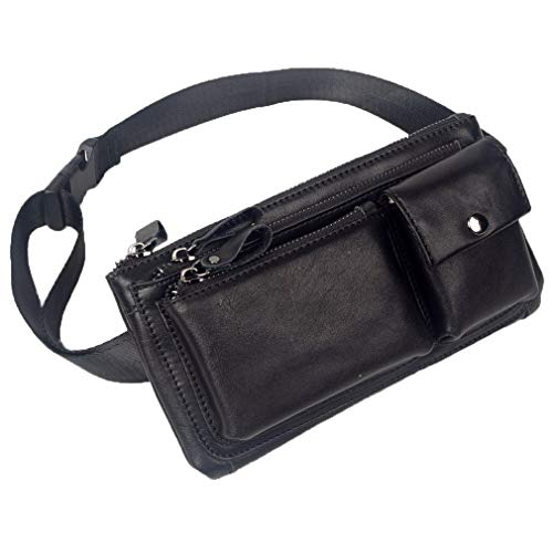 Vintage Leather Fanny Pack Waist Bag for Men Women Travel Hiking Running Hip Bum Belt Slim Cell Phone Purse Wallet Pouch Black
