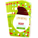 Christmas Money or Gift Card Holder Cards - Set of 8 with Metallic/Glitter Accents (Santa Face)