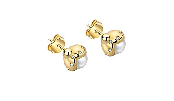 SA SILVERAGE Sterling Silver 14K Gold Plated Ladybug Stud Earrings for Women Cultured Pearl Earrings