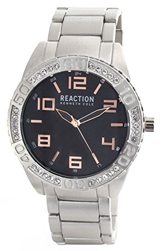 Kenneth Cole Reaction Unisex Black Dial Silver Tone Bracelet Digital Analog Watch 10031250