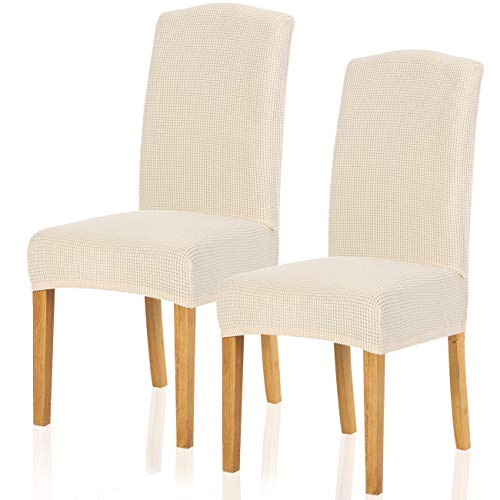 TIANSHU Stretch Chair Cover for Home Decor Dining Chair Slipcover (2 Pack, Ivory)