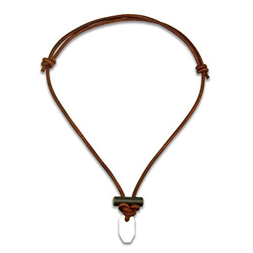 The Bushcraft | Fire Starter Necklace | MADE IN USA | Lifetime Guarantee | Modern Day Flint & Steel Two-Part Pendant | Rich Cowhide Leather | Tied with Classic Mountaineering Knots by Wazoo (Image #1)