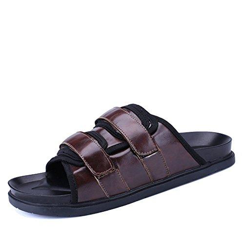 40 3 Uomo Wagsiyi Nero Antiscivolo Pantofole Traspiranti Da Colore Dimensione 2 Casual spiaggia Pantofole pantofole Marrone Outdoor Scarpe EU Shoes da Leather wwpSTH