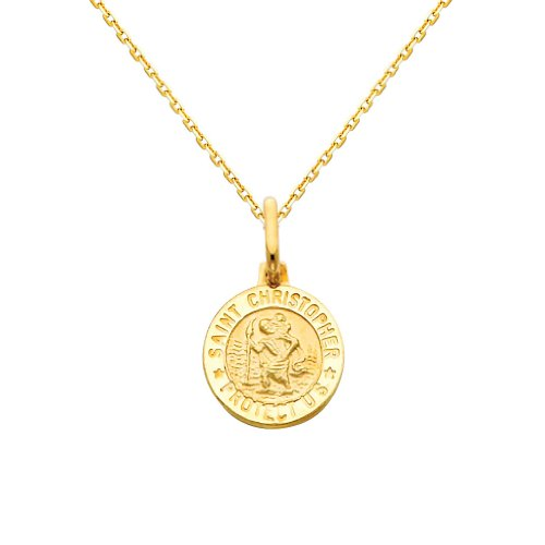 (GM Fine Jewelry 14k Yellow Gold Religious Saint Christopher Medal Charm Pendant with 0.9mm Oval Angled Cut Rolo Cable Chain Necklace - 20