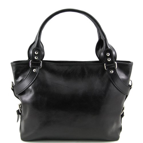a Leather Tuscany a spalla nero Tuscany spalla donna Nero Leather Borsa Borsa donna raqA8aYw