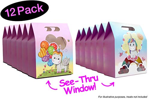 Unicorn Favor Bags for Unicorn Party Favors // Unique See-Thru Window Party Bags // Gift Bags to Show Off Candy Treats Favors // Favor Boxes Goodie Bags, 12 Pack 2 designs