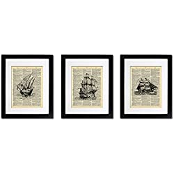 Nautical Sailboat Ships - Triple Print - Vintage Dictionary Print 8x10 inch Home Vintage Art Abstract Prints Wall Art for Home Decor Wall Decorations For Living Room Bedroom Office Ready-to-Frame