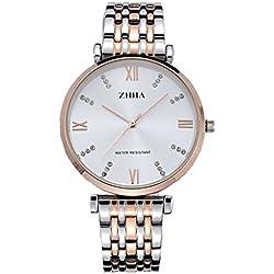 ZHHA Men's 060 Diamond Accented Quartz Rose Gold Stainless Steel Bracelet Wrist Watch Waterproof