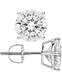 14K Solid White Gold Round Cut Cubic Zirconia Stud Earrings | .50 to 4.0 CTW | Screw Back Posts | With Gift Box