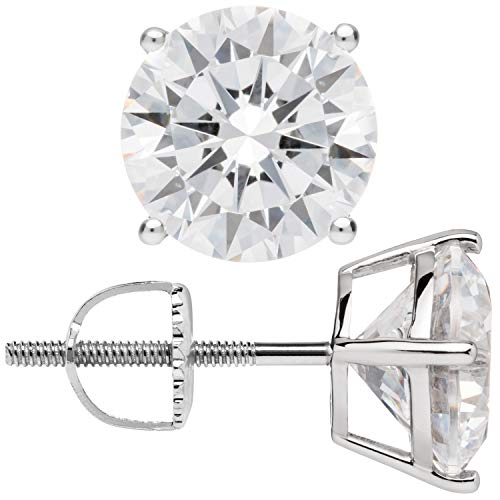 (14K Solid White Gold Stud Earrings | Round Cut Cubic Zirconia | Screw Back Posts | 4.0 CTW | With Gift)