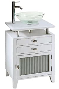 Moderna Bath Vanity With Single Glass Door, 31Hx24Wx21D, WHITE