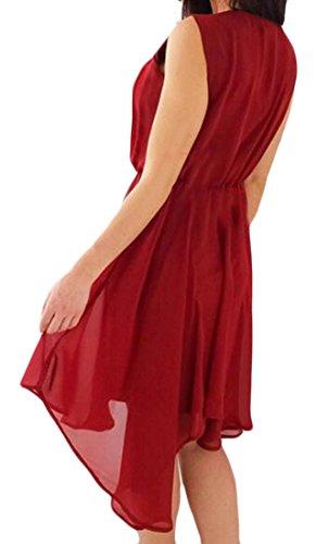 Beach Tunic Chiffon Boho Red Women's Casual Swing Cromoncent Sleeveless Dress AZxqXwOpY