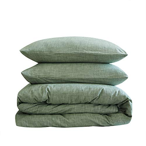 BFS HOME Stonewashed Cotton/Linen Duvet Cover Queen, 3-Piece Comforter Cover Set, Breathable and Skin-Friendly Bedding Set (Green, Queen)