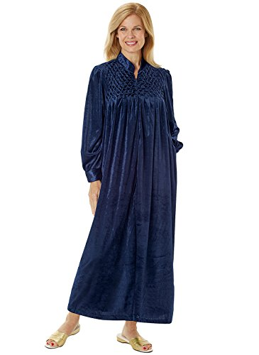 Long Zip-Front Robe, Navy, Size Extra Large (2X)