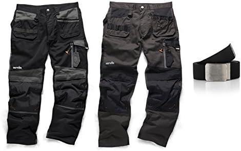 SCRUFFS Work Trousers 3D TRADE Black Hard-Wearing Knee Pad Pocket FREE KNEE PADS