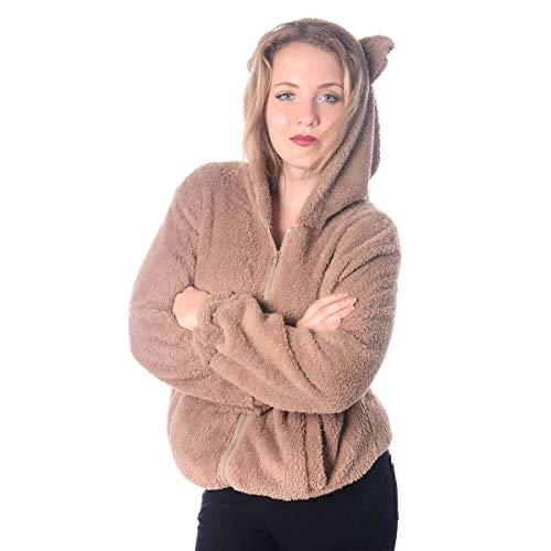 Coniglio Marrone Lungo Caldo Cappotto Manica Maglione Anteriore Invernale Con Cappuccio Lampo Coreano La Chiusura rPrOqF
