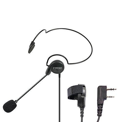 2 Way Head - Coodio Tactital Behind-the-Head Earpiece Headset Mic [Boom Microphone] [Noise Cancelling] For 2 Pin Kenwood Baofeng Wouxun 2 Way Radio Walkie Talkie