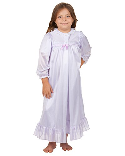 Laura Dare Girls Lilac Long Sleeve Traditional Peignoir Set, 12