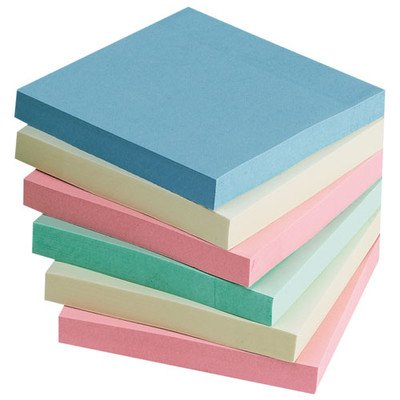 Adhesive Notes, 3''x3'', 12-Pack, 100 Sheets/Pad, Assorted Pastel by Sparco
