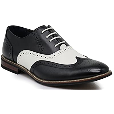 Wooden08N Men's Two Tone Wingtips Oxfords Perforated Lace Up Dress Shoes | Oxfords