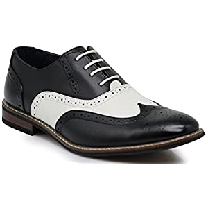 Wood8 Men's Two Tone Wingtips Oxfords Perforated Lace up Dress Shoes (7.5)