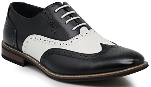 Wood8 Men's Two Tone Wingtips Oxfords Perforated Lace Up Dress Shoes (9) Black White]()