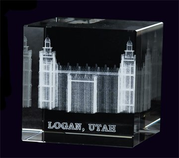 LDS Logan Utah Temple 50 x 50 x 80mm Crystal Cube - LDS Wedding, LDS Gifts, LDS Anniversary