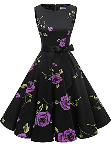 Partito Da Polka Purple Gardenwed 1950 Swing Audery Vestito Abito Rose Retrò Cocktail Senza Maniche Rockabilly Annata IYwFO