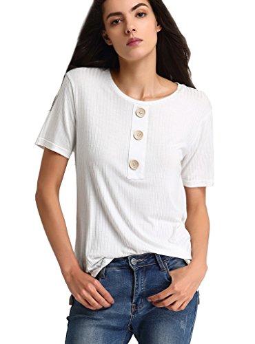 Escalier Women Cotton Short-Sleeve T-shirt Soft Stretchy Side Slit Short Sleeve Loose Top Tee White M