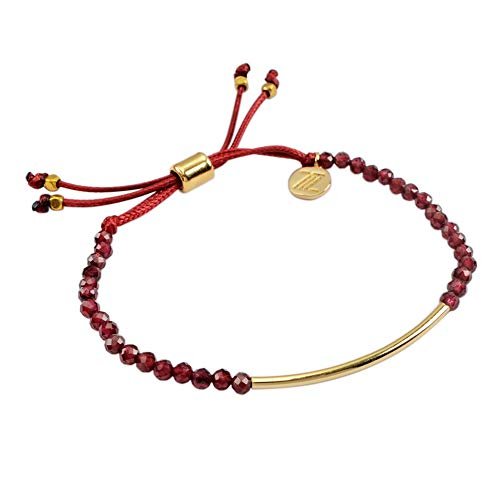ZENGORI 1 Pcs 3mm Faceted Natural Garnet Bead Bracelet Adjustable Handmade Jewelry ZBG0067