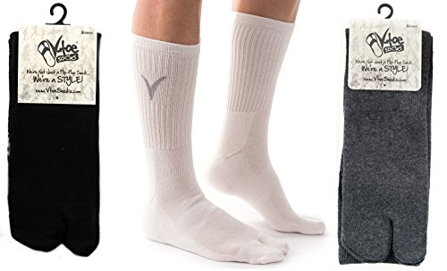 3 Pairs V-Toe Flip-Flop Socks Tabi Big Toe Thicker Athletic Sports Or Casual – DiZiSports Store
