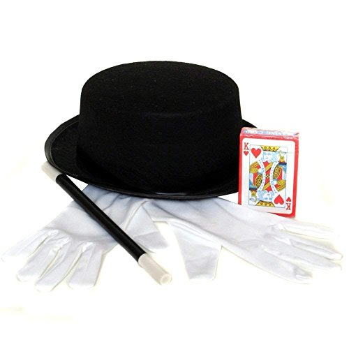 Magician Costume Accessory Set - Hat, Gloves,