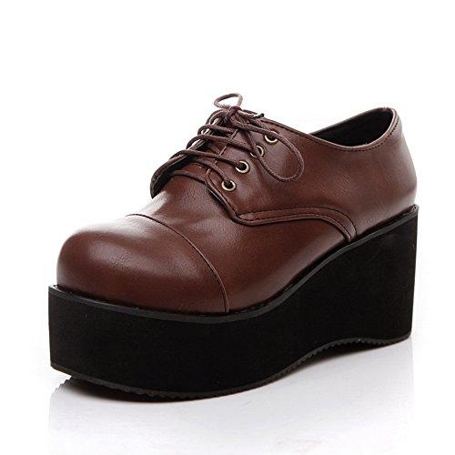 balamasa massif en marron Talons robe Marron dentelle Up Pompes Chaussures OUqOHrwv