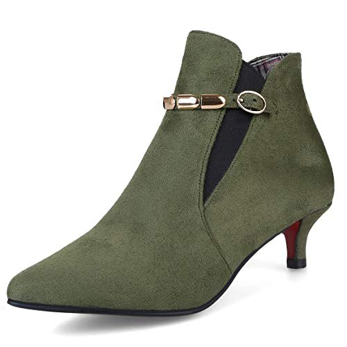 Kitten Ankle Suede Stretch Sexy Boot Faux Boots Gray Ladies Pointed Chelsea Heel Womens Toe IU4qZBHH