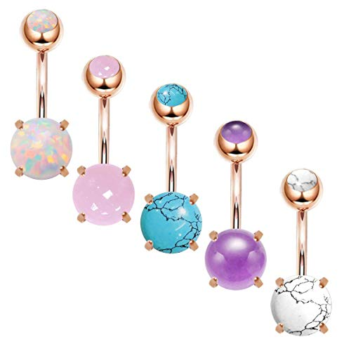 CZCCZC 14G Stainless Steel Belly Button Rings for Women Girls Natutal Mixed Stone Navel Rings Body Piercing Jewelry (5pcs Rose Gold) -
