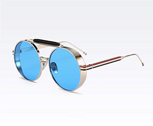 conducen Keephen Gafas vidrios que Steampunk sol marco clásico de los Plata de redondas UV400 vintage del del Azul rrq6wd71