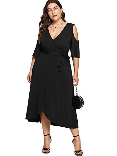 Milumia Plus Size Cold Shoulder Wrap V Neck Empire Waist High Low Summer Short Sleeves Party Midi Dress Black 1XL (Dress Empire Black In Short Sleeve)