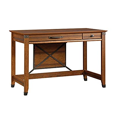 Sauder Carson Forge Writing Desk, Washington Cherry finish - Flip-down molding reveals slide-out shelf for keyboard/mouse or laptop Small drawer with metal runners and safety stops Finished on all sides for versatile placement - writing-desks, living-room-furniture, living-room - 41syyXUNtDL. SS400  -