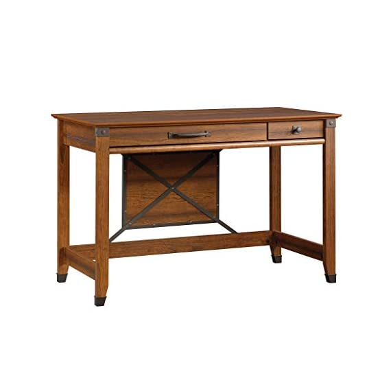 Sauder Carson Forge Writing Desk, Washington Cherry finish - Flip-down molding reveals slide-out shelf for keyboard/mouse or laptop Small drawer with metal runners and safety stops Finished on all sides for versatile placement - writing-desks, living-room-furniture, living-room - 41syyXUNtDL. SS570  -