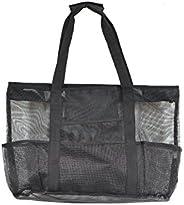 Victus Outdoors GIANT Zip Top Full Mesh Bottom Beach Bag Large Black 24 x 16, Long 12in Handles, Inside Zipper