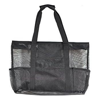 301a0e08c Victus Outdoors Zip Top Mesh Beach Bag Large Black Tote Bag 24 x 16, Long
