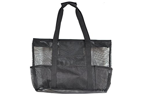 Mesh Beach Bag Large Black 24 x 16 by Victus Outdoors With Zip Top, Long 12in Handles, Inside Zippered Pocket, Spring Clip, 8 Big Outside Pockets, Sand and Water Drains Away, With Bonus Tote Bag