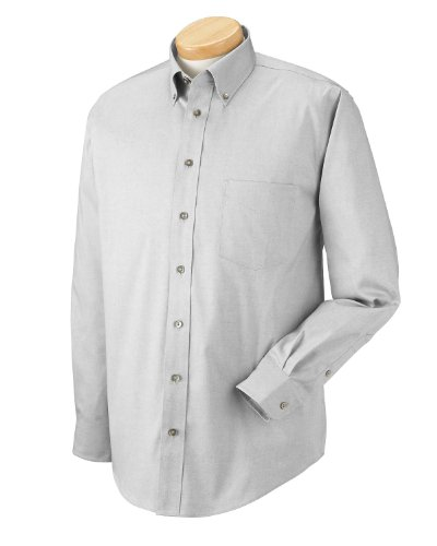Chestnut Hill Men's Long Sleeve Executive Performance Pinpoint Oxford Button Down Dress Shirt - Silver Grey CH620 2XL