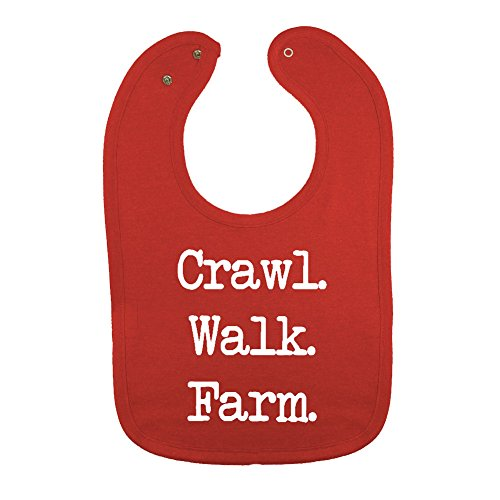 We Match! Unisex-Baby -Crawl Walk Farm Thick PREMIUM 2-Ply Cotton Baby Bib With Snaps (Vintage Red)