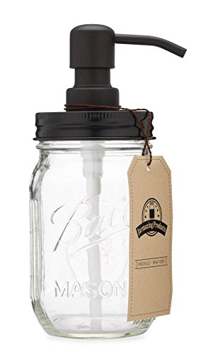 Jarmazing Products Mason Jar Soap Dispenser - Black - with 16 Ounce Ball Mason Jar - Made from Rust Proof Stainless Steel ()