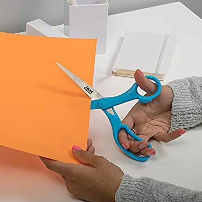 JAM PAPER Multi-Purpose Precision Scissors - 8 Inch - Blue - Ergonomic Handle & Stainless Steel Blades - Sold Individually : Office Products