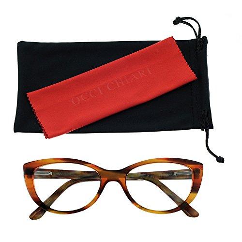 Women Fashion Acetate Cateye Eyewear Frame Non-prescription Eyeglasses With Clear Lenses OCCI CHIARI (Brown, - Cateye Frames Eyeglass