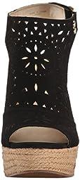 Marc Fisher Women\'s Harlea Wedge Sandal, Black, 7.5 M US