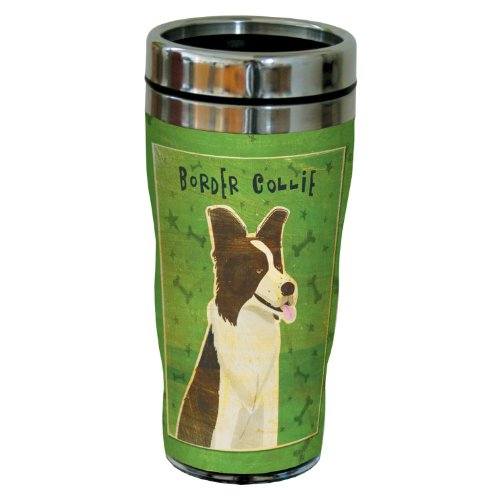 Border Collie Merchandise - Tree-Free Greetings sg23979 Border Collie by John W. Golden 16-Ounce Sip 'N Go Stainless Steel Lined Travel Tumbler